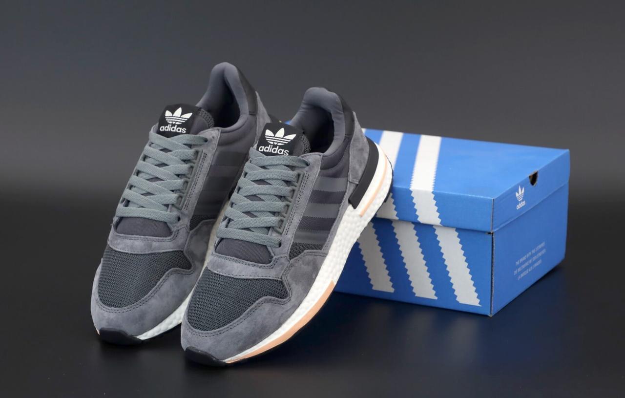 Мужские кроссовки Adidas ZX-500 RM OG серого цвета (Кроссовки Адидас ЗХ 500)