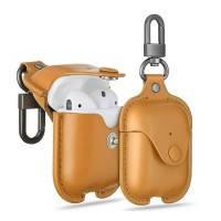 Кожаный чехол с карабином ESR Oxford Leather Brown для Apple AirPods, фото 2