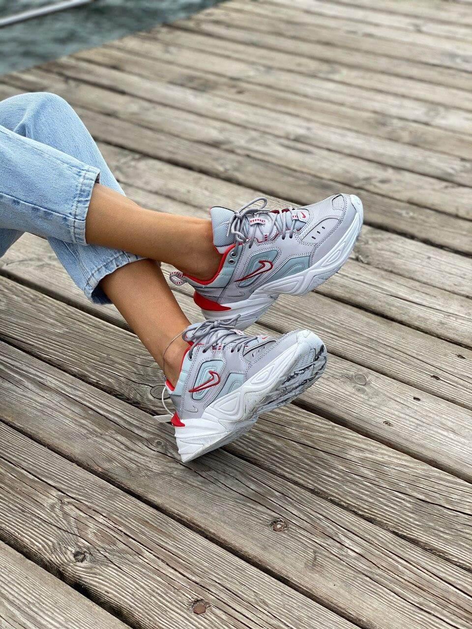 Женские кроссовки Nike M2K Tekno серого цвета (Кроссовки Найк М2К Текно серебристые)