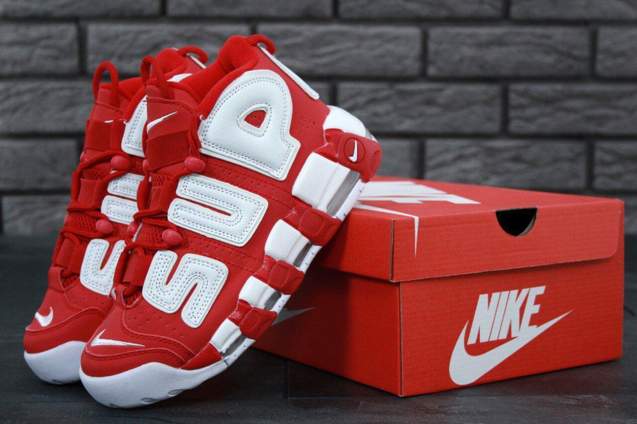 Высокие кроссовки Nike Air More Uptempo X Supreme Red (Найк Аир Мор Аптемпо х Суприм красного цвета) 36-45