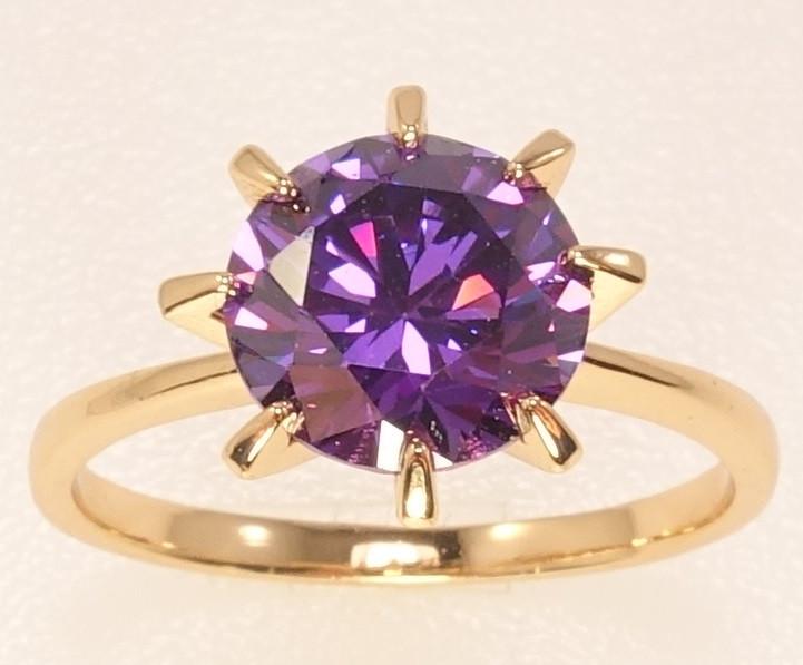 "Кольцо ХР Позолота 18K ""Сиреневый кристалл в 8-ми крапановой оправе"" ø 9мм, р.16.5,17,18,18.5"