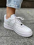 Белые кроссовки Nike Air Force 1 Low White (Найк Аир Форс низкие кожаные женские и мужские размеры 36-45), фото 2
