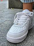 Белые кроссовки Nike Air Force 1 Low White (Найк Аир Форс низкие кожаные женские и мужские размеры 36-45), фото 3