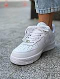 Белые кроссовки Nike Air Force 1 Low White (Найк Аир Форс низкие кожаные женские и мужские размеры 36-45), фото 4