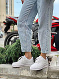 Белые кроссовки Nike Air Force 1 Low White (Найк Аир Форс низкие кожаные женские и мужские размеры 36-45), фото 6