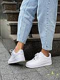Белые кроссовки Nike Air Force 1 Low White (Найк Аир Форс низкие кожаные женские и мужские размеры 36-45), фото 7
