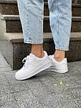 Белые кроссовки Nike Air Force 1 Low White (Найк Аир Форс низкие кожаные женские и мужские размеры 36-45), фото 8