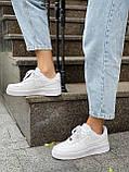 Белые кроссовки Nike Air Force 1 Low White (Найк Аир Форс низкие кожаные женские и мужские размеры 36-45), фото 9