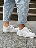 Белые кроссовки Nike Air Force 1 Low White (Найк Аир Форс низкие кожаные женские и мужские размеры 36-45), фото 10