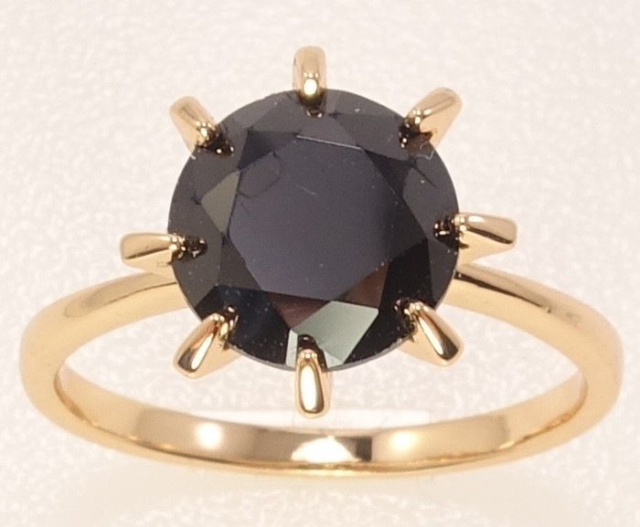 """Кольцо ХР Позолота 18K """"Черный кристалл в 8-ми крапановой оправе"""" ø 9мм, р.17,17.5,18,18.5"""
