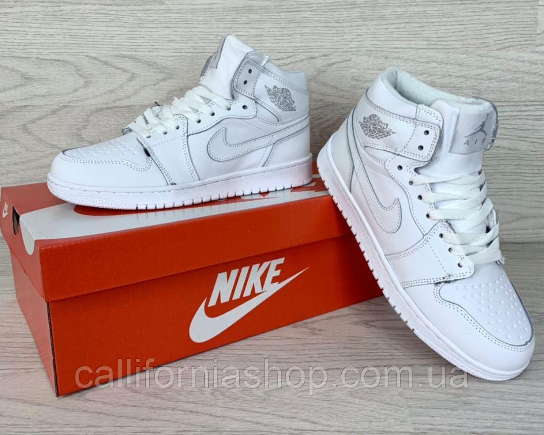 Кроссовки женские белые Nike Air Jordan 1 Retro Найк Аир Джордан 1 Ретро зимние на меху 41 размер