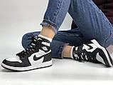 Высокие кроссовки на меху Nike Air Jordan Retro в черно-белом цвете (Найк Джордан мужские и женские размеры), фото 8