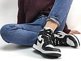 Высокие кроссовки на меху Nike Air Jordan Retro в черно-белом цвете (Найк Джордан мужские и женские размеры), фото 9