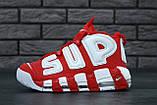 Женские высокие кроссовки Air More Uptempo x Supreme красного цвета, фото 2