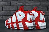 Женские высокие кроссовки Air More Uptempo x Supreme красного цвета, фото 5