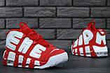 Женские высокие кроссовки Air More Uptempo x Supreme красного цвета, фото 6