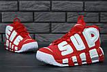Женские высокие кроссовки Air More Uptempo x Supreme красного цвета, фото 7