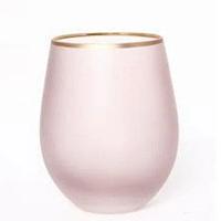 Матовый розовый стакан с золотой кафмой для кафе 500мл