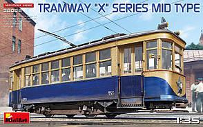 Серийный двухосный двухсторонний трамвай советского образца серии Х. 1/35 MINIART 38026
