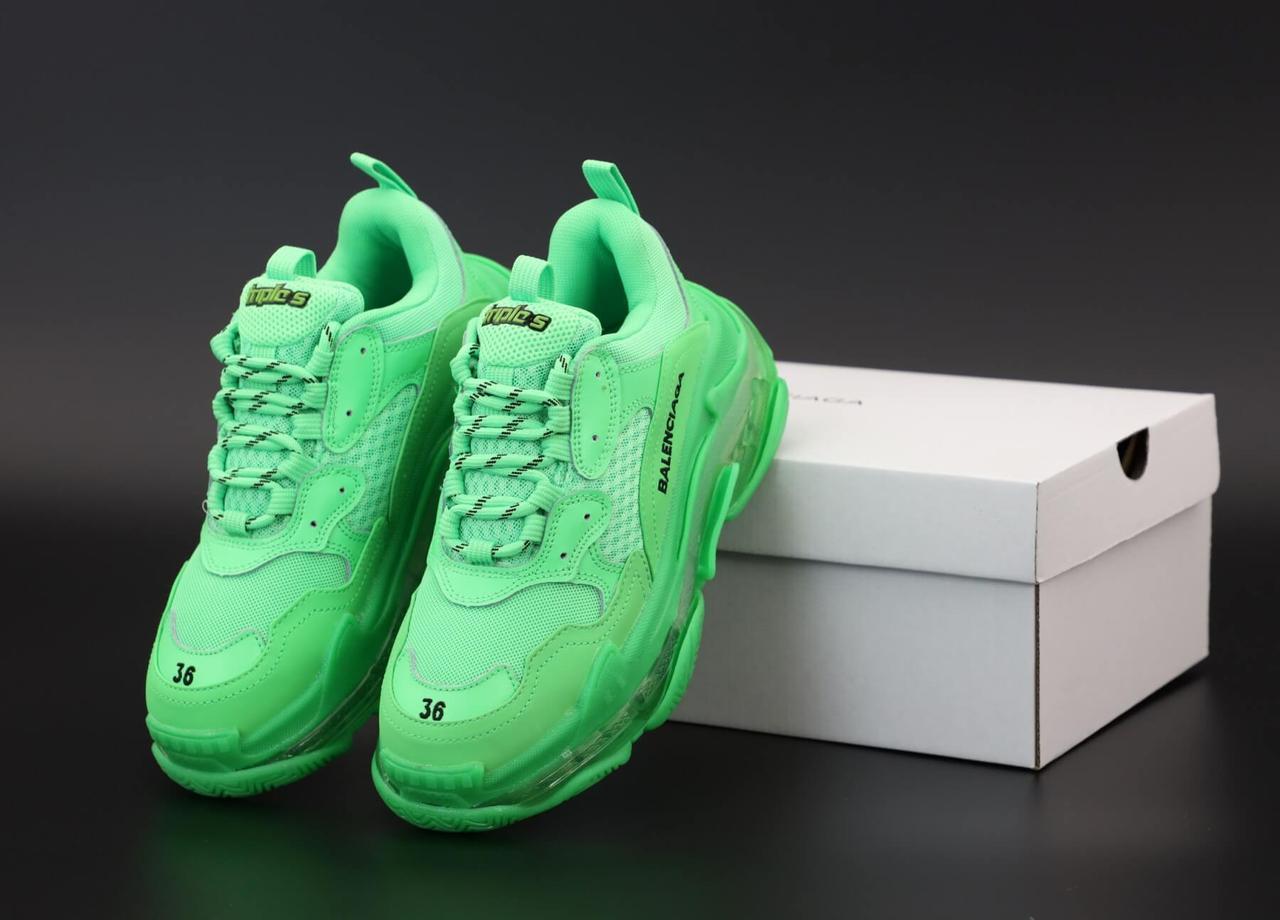 Женские кроссовки Balenciaga Triple S Green (Баленсиага Трипл С зеленого цвета)