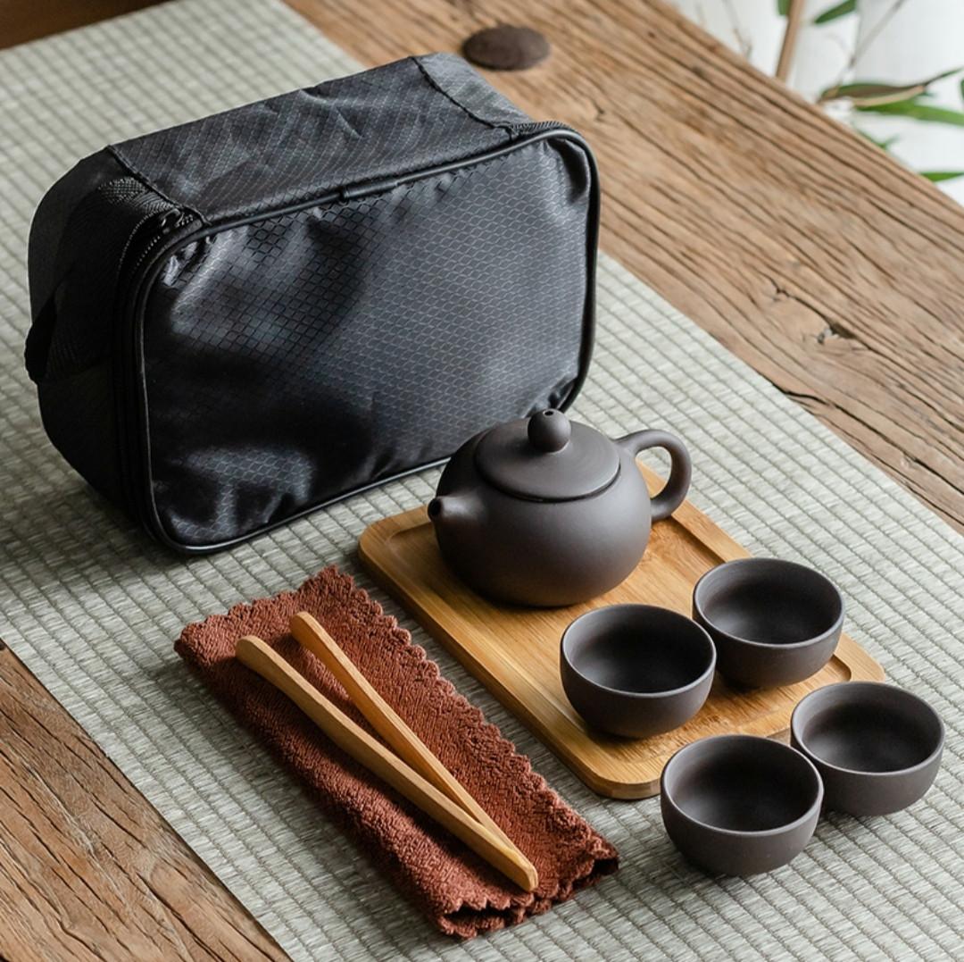 Чайный набор для чайной церемонии дорожный, портативный с подносом