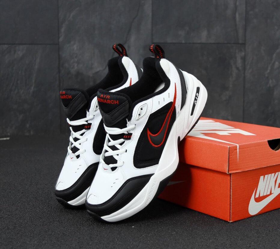 Кроссовки Nike Air Monarch 4 черно-белые (Найк Монарх мужские и женские размеры 36-45)