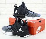 Баскетбольные кроссовки Air Jordan Superfly 5 в черно-синем цвете, фото 4