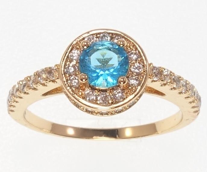 """Кольцо ХР Позолота 18K """"Голубой кристалл в обрамлении циркония"""" р.15.5,16.5,17.5,18,18.5,19.5"""