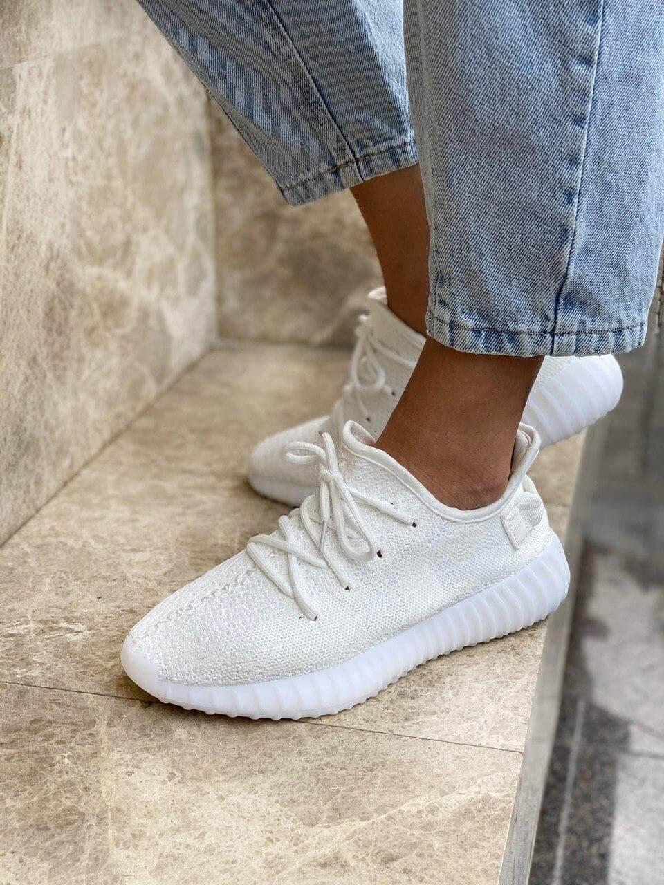 Белые кроссовки Adidas Yeezy Boost 350 White (Адидас Изи Буст) мужские и женские 36-45