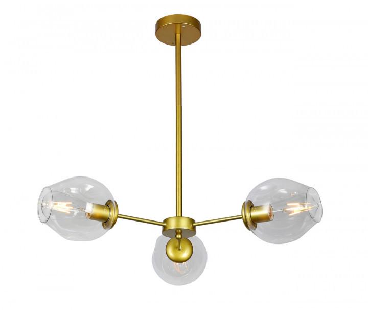 Люстра подвесная на три плафона на золотом основании в стиле loft  7526039-3 GD+CL