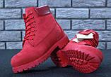 Женские ботинки Timberland Classic красного цвета на шерстяном меху (Красные ботинки Тимберленд), фото 4