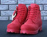 Женские ботинки Timberland Classic красного цвета на шерстяном меху (Красные ботинки Тимберленд), фото 5