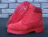 Женские ботинки Timberland Classic красного цвета на шерстяном меху (Красные ботинки Тимберленд), фото 9