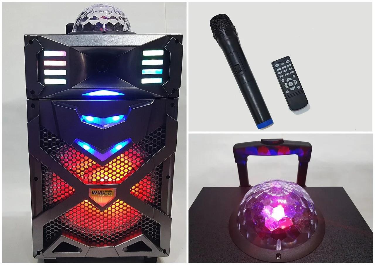 Автономная акустическая система с микрофоном WilliCo ZS-55 IP, с диско-шаром 300W sale