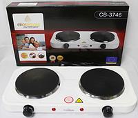 Двухконфорочная электроплита дисковая настольная электрическая плита Crownberg CB-3746 2000W, фото 1