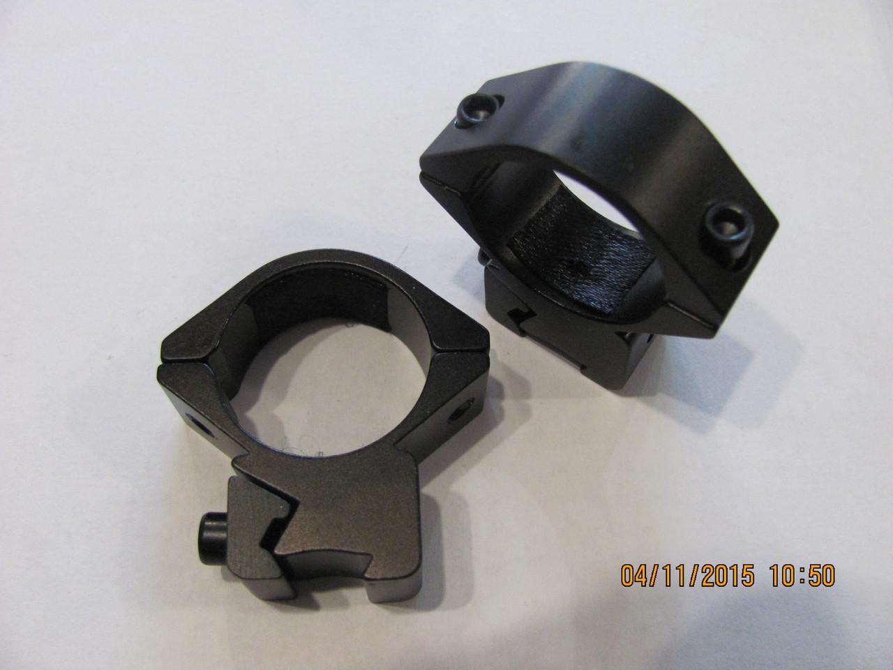 Кольца для крепления оптики 25 мм, на ласту, низкие.