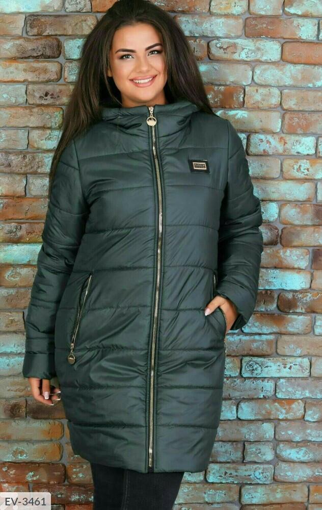 Женская куртка бутылочного цвета (Батал)