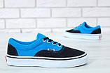 Кеды Vans Era черные с голубым (Кеды Ванс), фото 2