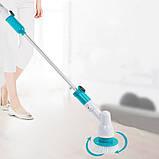 Беспроводная электрическая щетка для уборки Spin Scrubber с насадками для влажной уборки, фото 7