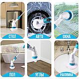 Беспроводная электрическая щетка для уборки Spin Scrubber с насадками для влажной уборки, фото 9