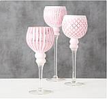 Подсвечник бокал набор из 3-х розовое стекло h30-40см, фото 5