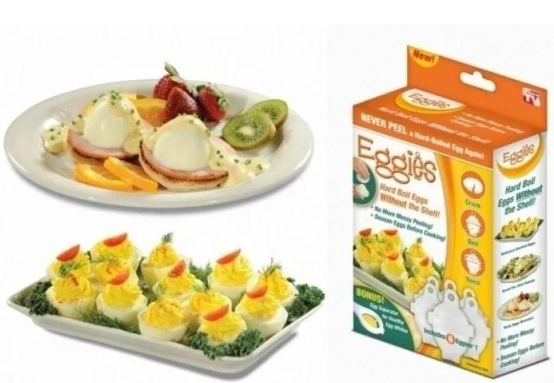 Набор форм для варки яиц без скорлупы Eggies RedSun (6 штук) с ложкой-сепаратором. Яйцеварка Eggies