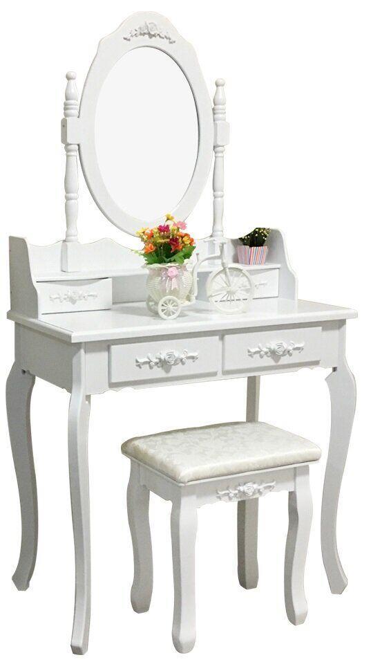 Туалетный столик в спальню с зеркалом белый трюмо для макияжа Bonro В-011