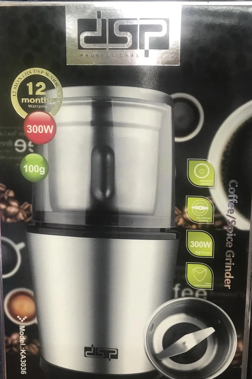 Кофемолка DSP KA3036 (300 Вт, 100г, нержавеющая сталь) top