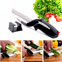 Кухонний ніж-ножиці Clever Cutter 2в1 чорний зі зручною рукояткою