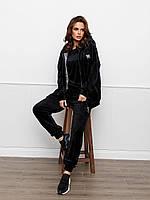 Черный велюровый спортивный костюм тройка c утепленной жилеткой