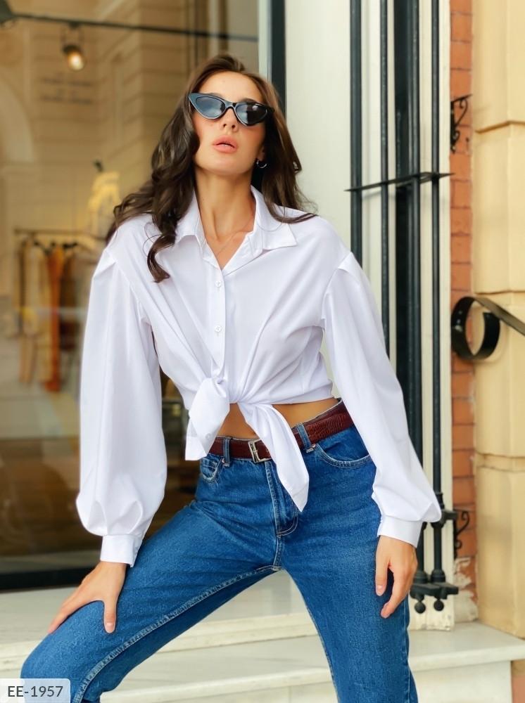 Женская рубашка с объемными рукавами (Батал)