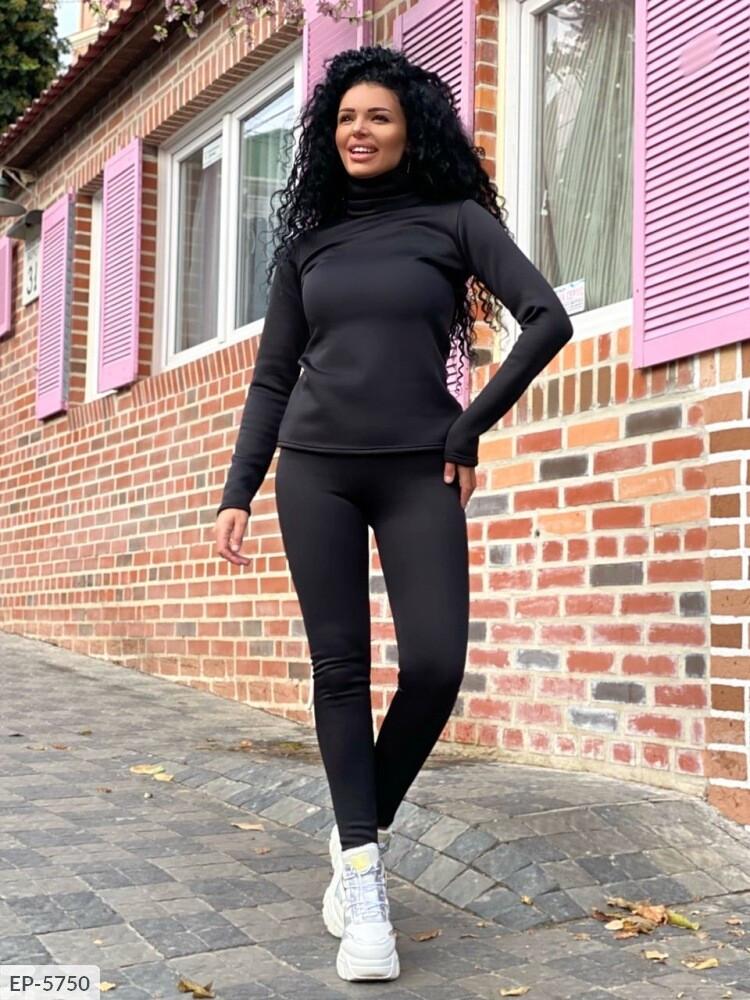 Женский черный спортивный костюм с лосинами (Батал)