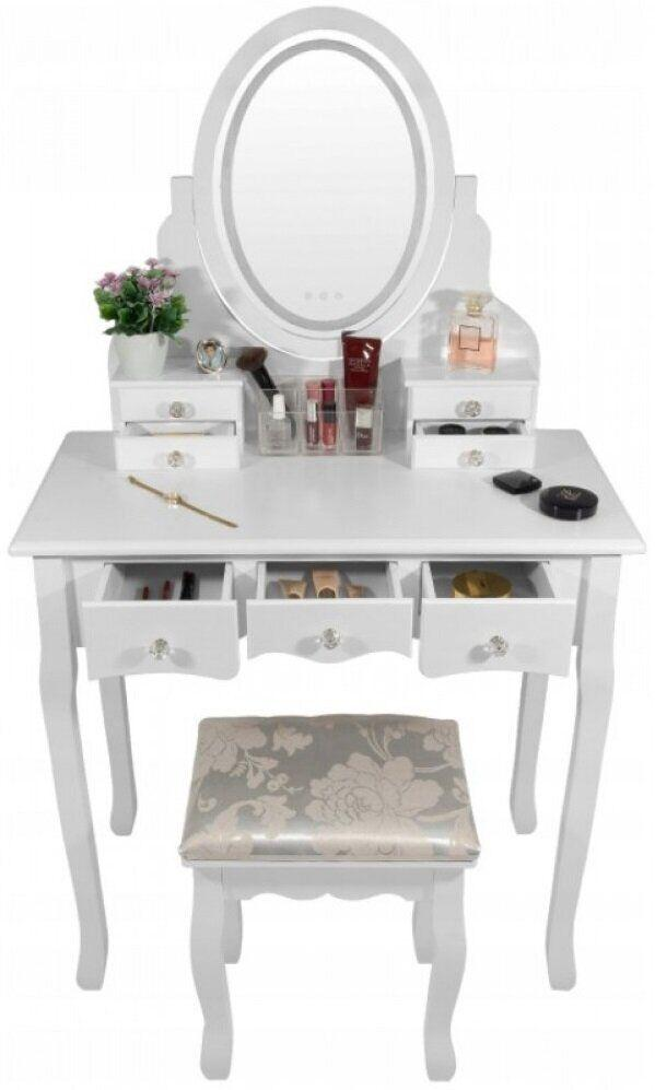 Туалетный столик с подсветкой и зеркалом белый трюмо для макияжа Bonro В-066L