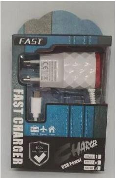 Зарядное устройство сетевой адаптер Fast Charger 2 USB micro USB 220 V плоский TOP